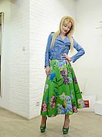 Женская юбка зеленая пышная в пол с рисунками Imperial