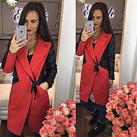 Стильное женское пальто тм Enneli материал кашемир, рукава материал эко кожа. Цвет красный