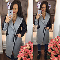Стильное женское пальто тм Enneli материал кашемир, рукава материал эко кожа. Цвет серый