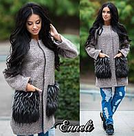 Стильное женское пальто тм Enneli материал шерсть букле, мех на карманах искусственный(не съемный), Цвет серый