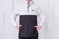 Анорак, ветровка, куртка весенняя, осенняя, высокое качество, черный+белый