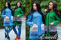 Стильное женское пальто тм Enneli материал шерсть букле, мех на карманах искусственный (не съемный)
