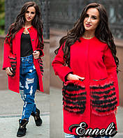 Стильное женское пальто тм Enneli материал кашемир, мех натуральный песец. Цвет красный