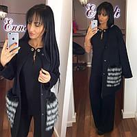 Стильное женское пальто тм Enneli материал кашемир, мех натуральный песец. Цвет черный
