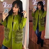 Стильное женское пальто тм Enneli материал кашемир, мех натуральный песец. Цвет оливковый