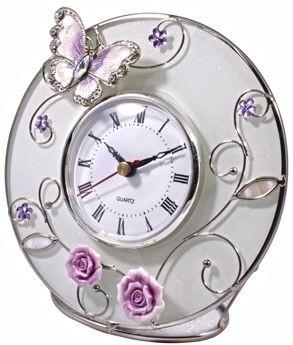"""Стильные настольный часы """"Бабочка на чайной розе"""" Charme de Femme 307-CK, розовый"""