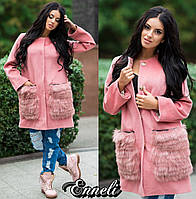 Стильное женское пальто тм Enneli материал кашемир, мех натуральный песец. Цвет розовый