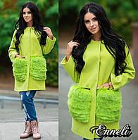 Стильное женское пальто тм Enneli материал кашемир, мех натуральный песец. Цвет салатовый