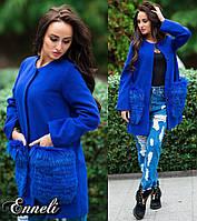 Стильное женское пальто тм Enneli материал кашемир, мех натуральный песец. Цвет электрик