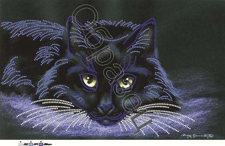 Вышивка бисером чёрный кот