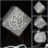 """Соляной светильник """"Роза куб"""" ручная работа 15х14 см 305"""