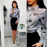 Женский модный костюм: рубашка с вышивкой и юбка