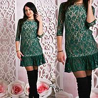 Женское стильное гипюровое платье рюши (5 цветов)