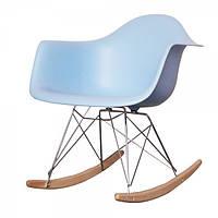Кресло качалка Тауэр R голубое пластиковое на металлических ножках, SDMPC018BLUR