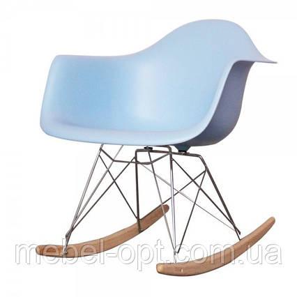 Кресло качалка Тауэр R голубое пластиковое на металлических ножках, SDMPC018BLUR, фото 2
