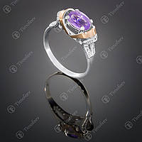 Серебряное кольцо с аметистом и фианитами. Артикул П-404