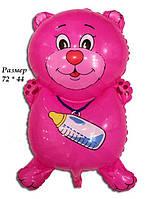 Фольгированный воздушный шарик Мишка с соской розовый 72 х 44 см