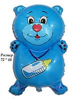 Фольгированный воздушный шарик Мишка с соской голубой 72 х 44 см