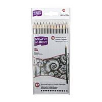 Набор чернографитных карандашей, 12 штук, 6B-5H, Academy, Derwent, 2300412