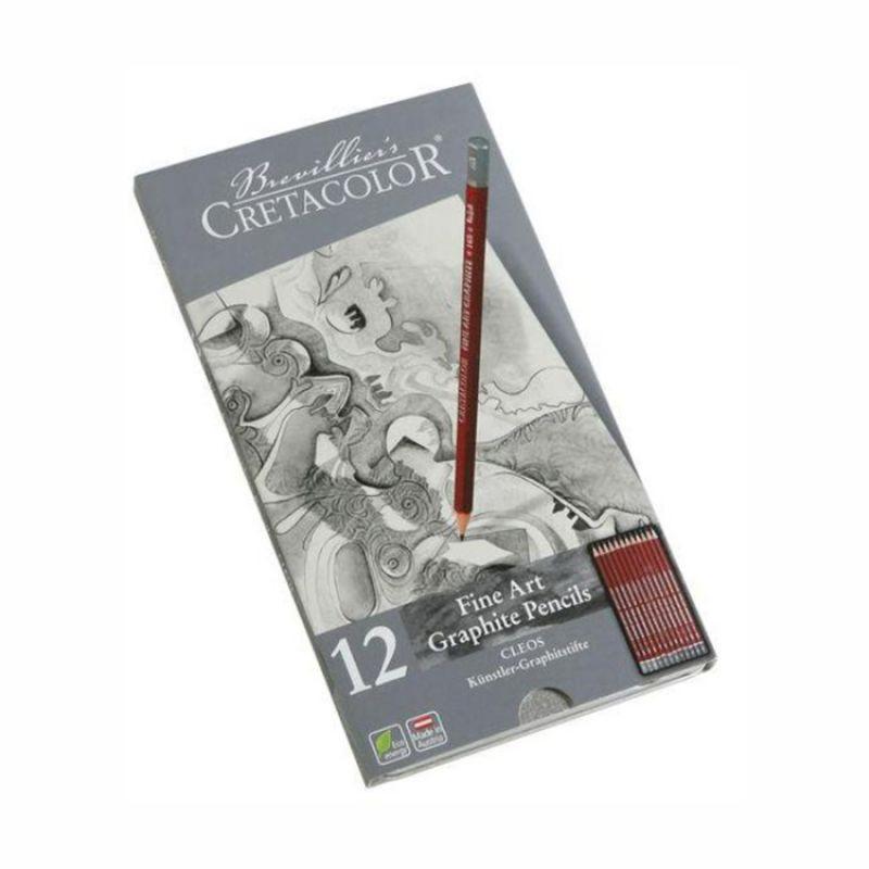 Набор чернографитных карандашей, 12 штук, 9B-2H, металлический пенал, Cleos, Cretacolor, 90516052