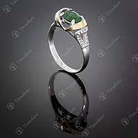 Серебряное кольцо с агатом и фианитами. Артикул П-404