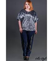 Батальные  синие брюки Фея Olis-style 54-64 размеры