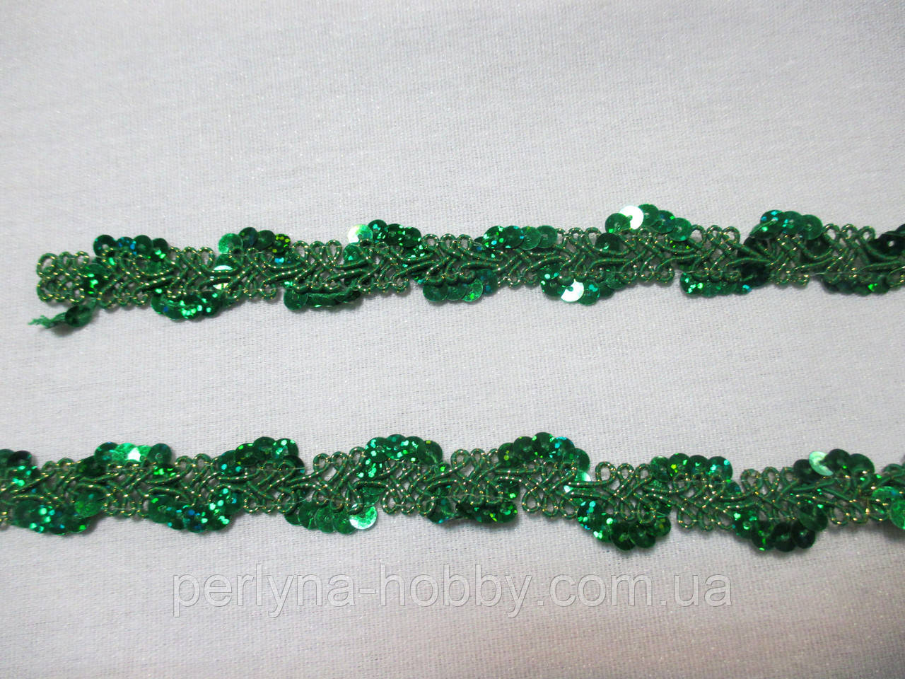 Тасьма з паєтками зелена см 1,8 см.