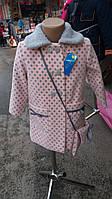 Яркое кашемировое пальто для девочки в горошек в расцветке