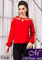 Милая женская блуза красного цвета с рюшами  (р. S, M, L, XL) арт.12900