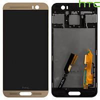 Дисплей + touchscreen (сенсор) для HTC One M9 Plus, с передней панелью, оригинал (золотистый)