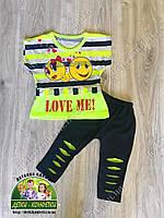 Летний костюм для девочки: туника и лосины