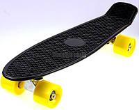 Пенни Борд Penny Board. Черный цвет. Желтые колеса