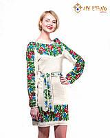 Вязаное платье Маки и васильки с кокеткой, фото 1