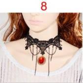 Кружевной чокер ожерелье готика колье красный кристалл с цепочками