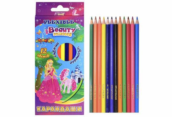 """Карандаши цветные гибкие """"Princess. Мультяшки"""" (12 цветов), 7564"""