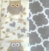 Набор ткани для пэчворка Совы на ветке бежево-серый