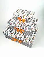 Прямоугольный подарочный комплект коробок ручной работы серо-белого цвета с принтом из девочек-модниц