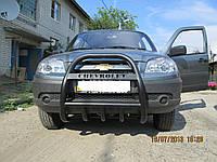 Кенгурятник Chevrolet Niva высокий черный мат