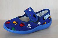 Детские тапочки на липучках для мальчика текстильная обувь Виталия Украина размер с 23 по 27