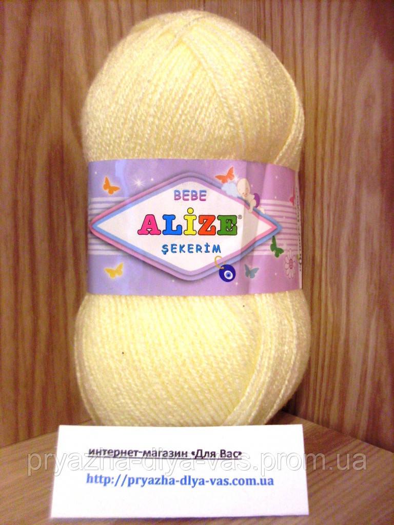 Детская пряжа(100%-акрил,100г/320м) Alize Sekerim bebe 01(кремовый)