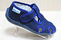 Тапочки Виталия на липучке в садик для мальчика текстильная обувь размер с 23 по 27