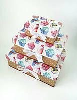 Прямоугольный подарочный комплект коробок ручной работы с принтом из кексов