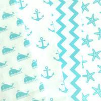 Набор ткани для пэчворка Морские мотивы бирюзовые