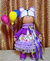 Кукла текстильная ручной работы (фиолетовый)