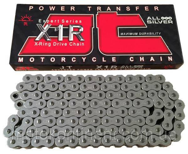 Мото цепь 520 114 звеньев JT JTC520X1R2NN X-Ring для мотоцикла серебристая с двумя замками