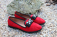 Туфельки балетки красный замша, фото 1