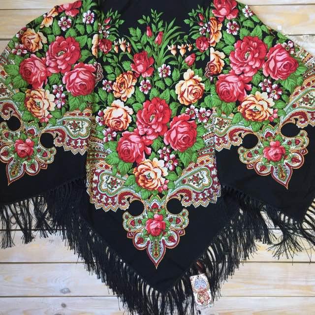Большой черный платок 80% шерсть, 135х135см