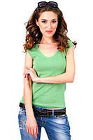 Зеленая футболка женская спортивная на лето с коротким рукавом без рисунка хлопок хб трикотажная (Украина) 42