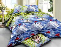 Двуспальное постельное белье София 3Д - Лебеди на пруду
