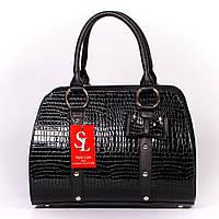Черная женская сумка-бочонок с бантом лак art. 1338bln